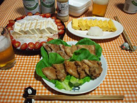 晩酌☆梅豚カツ&とうふ大根トマトサラダ&厚焼き玉子