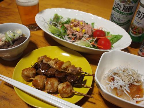 晩酌☆焼き鳥(惣菜)&すき煮&しらすおろし&ツナサラダ