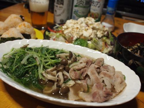 晩酌☆豚肉と水菜の柚子こしょう煮&長芋のおろし和え&おにぎり