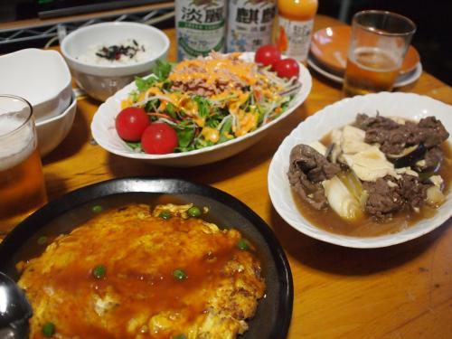 晩酌☆牛肉のとろみ煮&かに玉&ツナサラダ