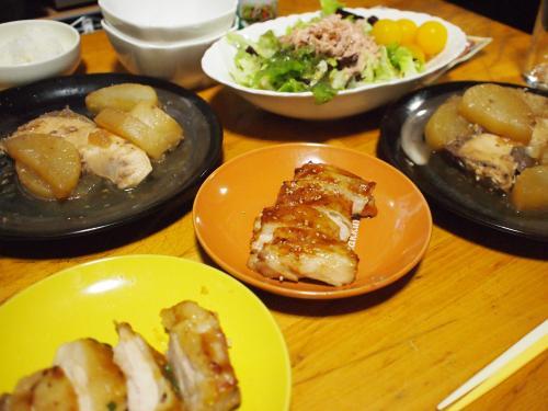 晩酌☆ぶり大根&鶏肉照り焼き&ツナサラダ