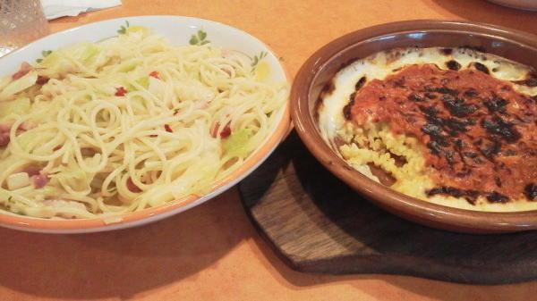 キャベツのペペロンチーノ & ドリア