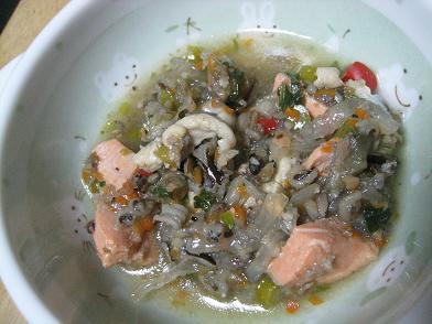 ワンご飯・鮭と穴子入り野菜スープ