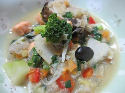 鮭とカツオ入り味噌スープ