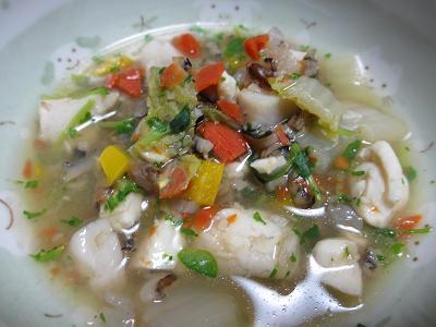 スズキのカラフルカレースープ