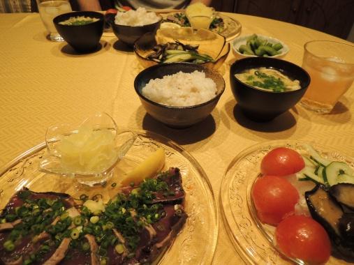 7月19日 鰹のたたき+野菜