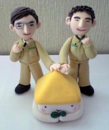 小松社 社長と専務の粘土人形