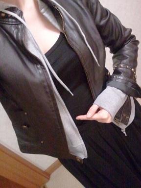 ロングスカート&レザージャケット