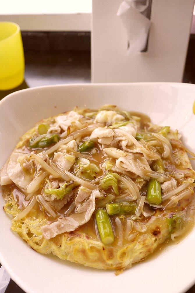 海老とアスパラのあんかけ焼麺