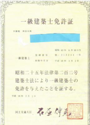 一級建免許証