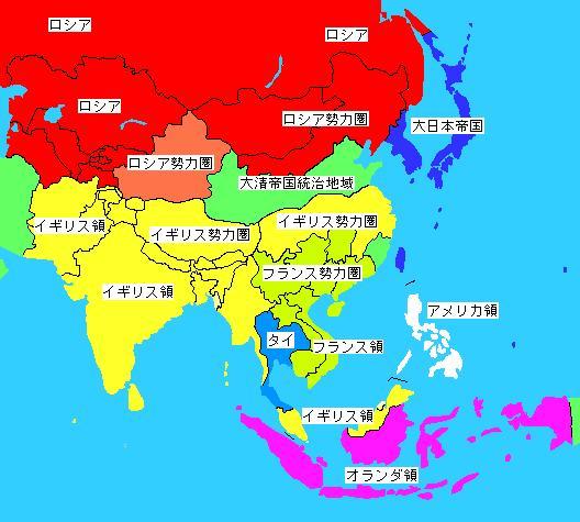 20世紀初頭のアジア植民地状況