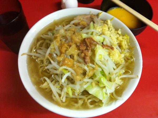 ラーメン二郎 千住大橋駅前店 ラーメン(小) ニンニクアブラ 卵