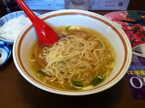 中華そば嘉一 ランチセットB(中華そば+ご飯+鶏皮) 麺