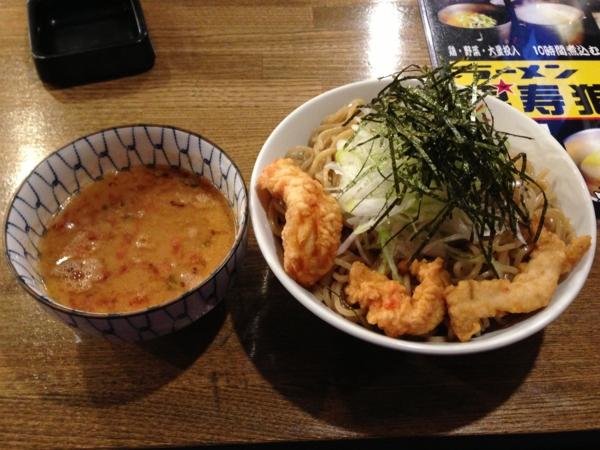 ラーメン男寿狼 鶏骨海老つけ麺(大盛り)