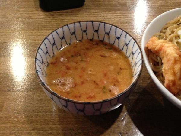 ラーメン男寿狼 鶏骨海老つけ麺(大盛り) つけ汁