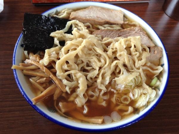 ケンちゃんラーメン秋田店 中華そば小盛り 油ぬき 麺柔らかめ 麺