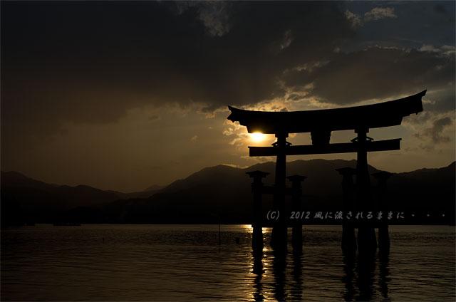 広島・厳島神社の夕日5