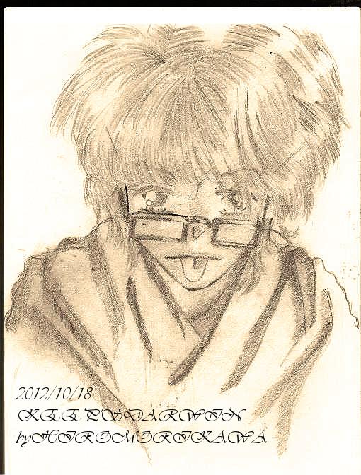 オリジナル/鉛筆画:「あっかんべぇ~」(セピア風にPC編集)