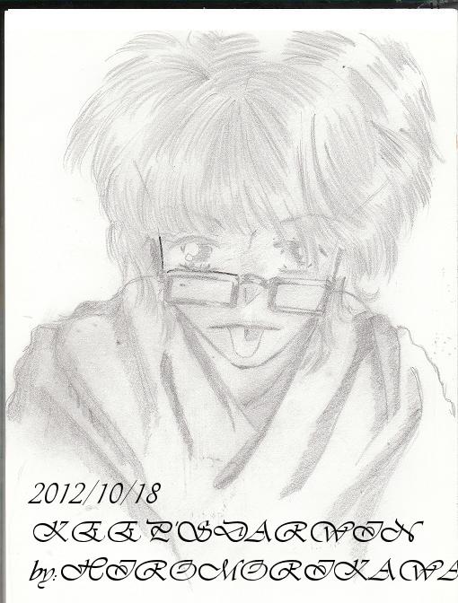 オリジナル/鉛筆画:「あっかんべぇ~」(加工前)