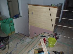 階段周り羽目板施工