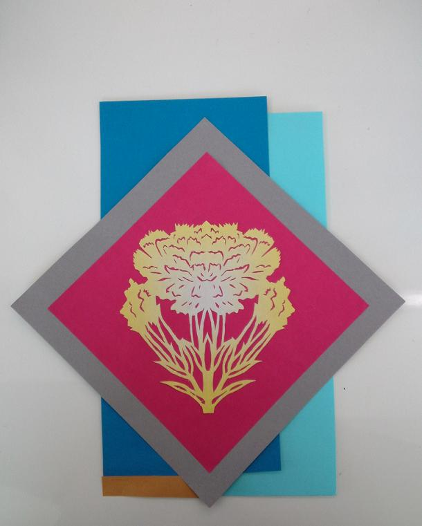 切り絵・カーネーションと藤の花