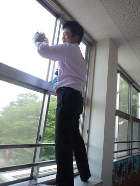 会長窓拭き