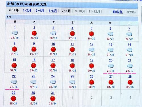 2012.07.20〜-7/22の東京の気温