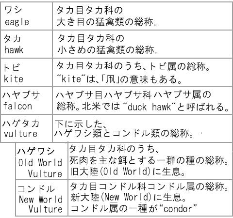 ワシタカトビハヤブサ比較表