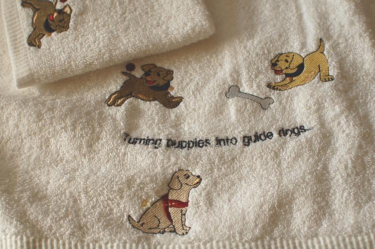 バスタオル&ハンドタオルのセット{オーストラリア盲導犬協会限定}パピー刺繍