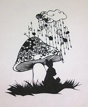 新きのこのお屋根で雨宿り