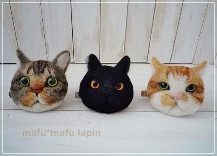 羊毛作品(猫ブローチ)