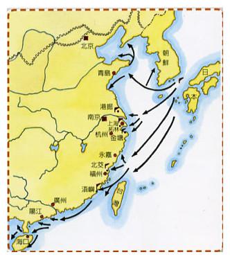 尖閣 明朝洪武2年至萬曆10年間的倭寇侵擾圖。由此圖可知倭寇的侵擾可說是遍及沿海各省。(台灣的漁業P.20)