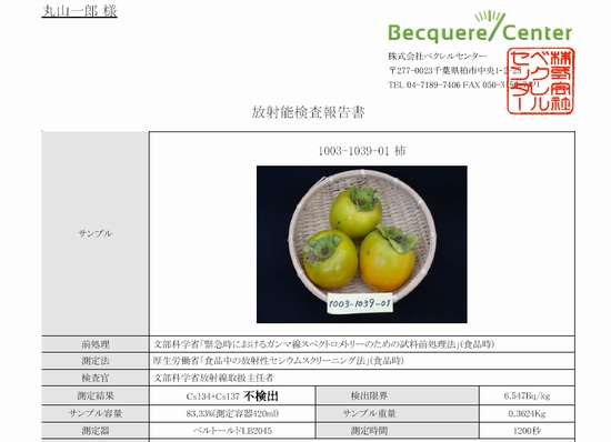放射能検査:柿 2012