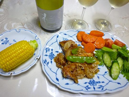 チキンと白ワイン