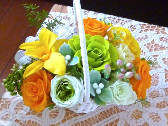 オレンジ黄緑籠