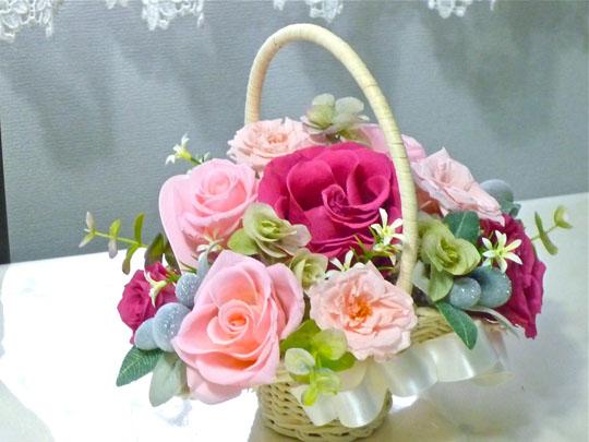 ピンク花籠