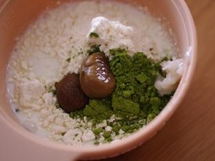 5分で抹茶と塩麹のレンジケーキ(栗入り)02