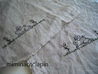 うさぎ刺繍