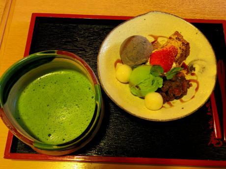 京玄庵パフェと抹茶
