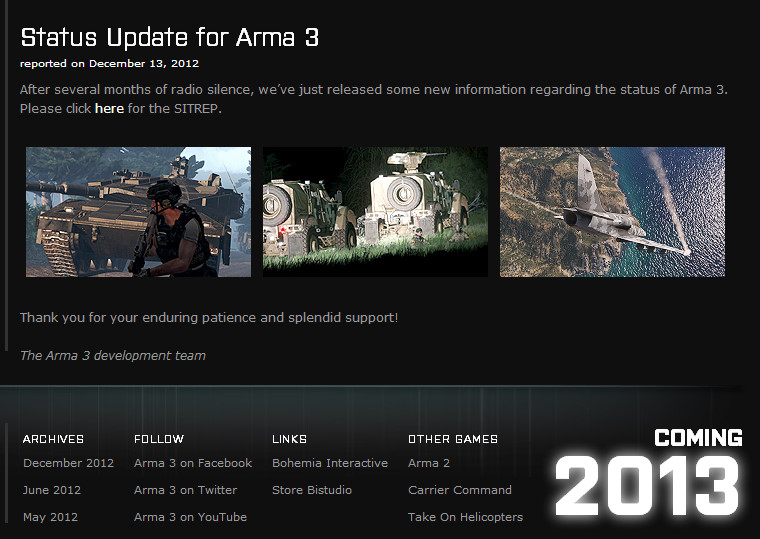 STATUS UPDATE FOR ARMA 3 20121213
