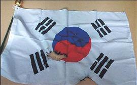 :::::焼かれて毀損した太極旗の写真が掲載されて d38414c0