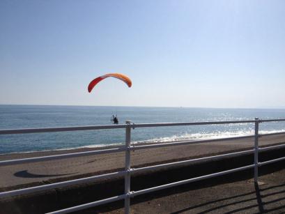 桂浜でモーターパラグライダーをやってました