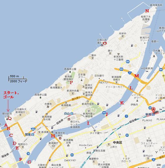 新潟島一周0地図