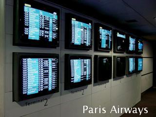 パリ シャルルドゴール空港 発着モニタ