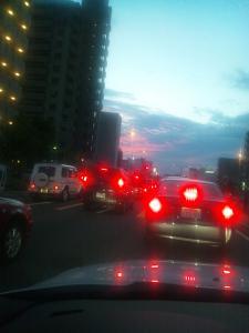 広小路の夕焼け