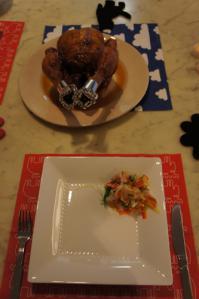 鶏丸とサラダ