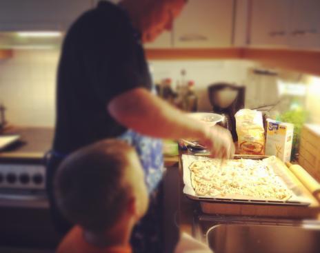 親子でピザ