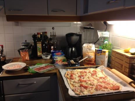 キッチンのピザ