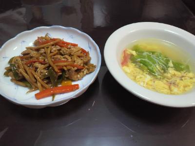 チンジャオロースと中華スープ