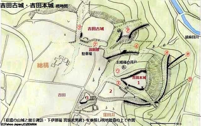 吉田本城・古城見取図①